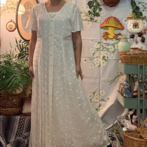 Vintage white eyelet lace embroidered overlay gown